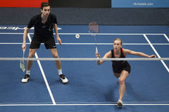 Joueurs Jacco Arends et Selena Piek de badminton Images stock