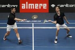 Joueurs Jelle Maas et Jacco Arends de badminton Images libres de droits