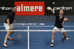Joueurs Jelle Maas et Jacco Arends de badminton Image libre de droits