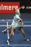 Joueurs Jorrit de Ruiter et Samantha Barning de badminton Images libres de droits