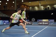 Joueurs Koen Ridder et Ruud Bosch de badminton Photographie stock libre de droits