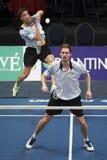 Joueurs Koen Ridder et Ruud Bosch de badminton Photographie stock
