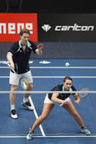 Joueurs Robin Tabeling et Mayke Halkema de badminton Photos stock