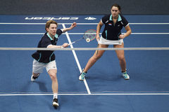 Joueurs Robin Tabeling et Mayke Halkema de badminton Images stock