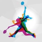 Joueuses modernes de femmes de badminton dans le logo d'action Photographie stock