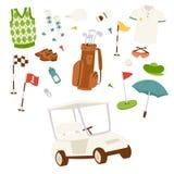 Jouez au golf l'illustration jouante au golf de vecteur d'éléments de jeu de trou de drapeau de symbole de sport de joueur de cha Image libre de droits