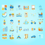 Jouez et apprenez, en se développant tôt École maternelle et enfants réglés Illustration plate de vecteur de style Photographie stock libre de droits