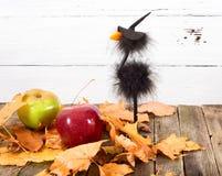 Jouez la corneille dans un chapeau et des feuilles d'automne images stock