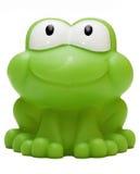 Jouez la grenouille en caoutchouc d'isolement sur le fond blanc Images libres de droits