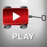 Jouez le bouton de film qui est également un petit chariot rouge Photos libres de droits