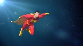 Jouez le chiffre miniature vol de caractère de super héros d'imagination devant les étoiles image libre de droits