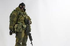 Jouez le fond blanc réaliste miniature d'armée de nombre d'actions de soldat d'échelle de l'homme 1/6 Photographie stock