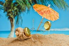 Jouez les hommes des capuchons de bière se reposant sur une plage sablonneuse Photos stock
