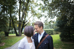 Joung couple in love outside lovestory Royalty Free Stock Images
