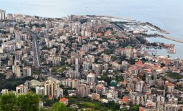Jounieh, Lebanon. The tourist town and port on the bay is located fifteen minutes drive north of the capital Beirut Royalty Free Stock Images