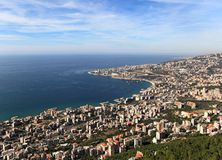 Jounieh, Lebanon. View from the mountains looking down on the tourist town on the bay is located fifteen minutes drive north of the capital Beirut Stock Photos