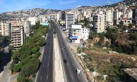 Jounieh, Lebanon. Aerial view looking down on the main thoroughfare from Beirut to the North going through the touristic city of Jounieh Royalty Free Stock Images