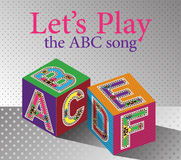 Jouons l'affiche d'activités de crèche de chanson d'ABC Photographie stock libre de droits