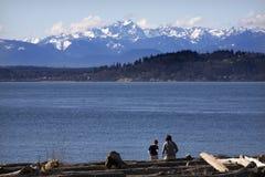 Jour à la plage Edmonds Washington photo stock