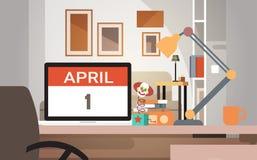 Jour April Holiday Greeting Card Banner d'imbécile d'ordinateur portable Photos libres de droits