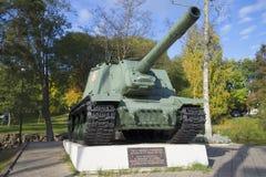 Jour autopropulsé d'automne de l'installation ISU-153 d'artillerie Priozersk Images stock