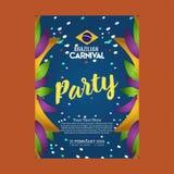 Jour brésilien heureux de carnaval carte d'invitation de partie de carnaval dedans illustration stock