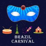 Jour brésilien heureux de carnaval Masque bleu de carnaval avec l'eleme d'exposition illustration stock
