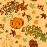 Jour d'action de grâces Configuration sans joint Potiron de lettrage et feuilles d'automne gais de inspiration Copie de fête gaie Illustration Stock