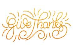 Jour d'action de grâces Donnez le lettrage de main de mercis Lettrage fait sur commande pour des vacances de jour de thanksgiving Photo stock
