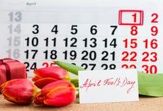 Jour d'April Fools ' sur le calendrier image libre de droits