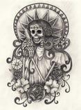 Jour d'art de crâne des morts Photos libres de droits