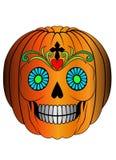 Jour d'Art Pumpkin Skull Halloween photo stock