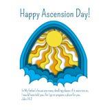 Jour d'ascension heureux de calibre de carte de voeux de Jésus avec la citation de bible, les nuages et les rayons du soleil illustration stock