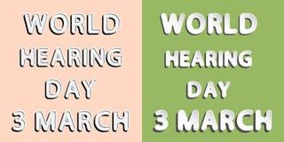 Jour d'audition du monde Images stock