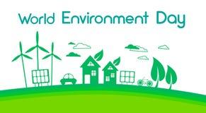 Jour d'environnement à énergie solaire vert du monde de panneau de turbine de vent de silhouette de ville illustration libre de droits