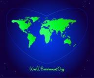 Jour d'environnement du monde Coeur bleu avec les continents verts du pl Illustration de Vecteur