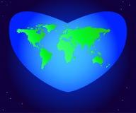 Jour d'environnement du monde Dirigez l'illustration du vert de la terre de planète de continent à un beau coeur bleu Illustration Stock