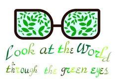 Jour d'environnement du monde un regard au monde par les yeux verts Emblème écologique Copies pour le T-shirts Conscience d'Eco illustration libre de droits