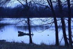 Jour d'hiver en retard de lagune de Skokie Images libres de droits