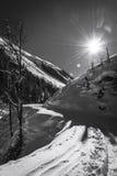 Jour d'hiver ensoleillé aux montagnes d'Autrichiens Photographie stock