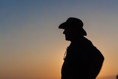 Jour d'homme au-dessus de silhouette de coucher du soleil Image libre de droits