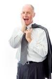 Jour d'homme d'affaires rêvant avec la main sur la joue Photos stock