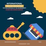Jour d'IInternational pour empêcher l'exploitation de l'environnement en guerre et conflit armé Image stock
