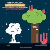Jour d'IInternational pour empêcher l'exploitation de l'environnement en guerre et conflit armé Photo libre de droits