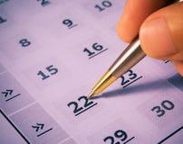 Jour d'inscription dans le calendrier Images libres de droits