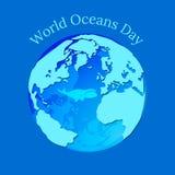 Jour d'océans du monde La terre de planète sous forme de ballon d'eau en lequel une baleine flotte illustration stock