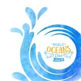 Jour d'oc?ans du monde La célébration a consacré pour aider à se protéger, et conserve les océans du monde Vagues abstraites de l photographie stock libre de droits