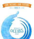 Jour d'oc?ans du monde La célébration a consacré pour aider à se protéger, et conserve les océans du monde Vagues abstraites de l illustration de vecteur