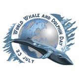 Jour de baleine et de dauphin du monde 23 juillet Concept des vacances écologiques Baleine et silhouettes des continents illustration stock