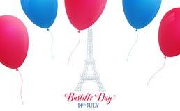 Jour de bastille Carte française de vacances avec Tour Eiffel et les ballons colorés le 14ème juillet Images libres de droits